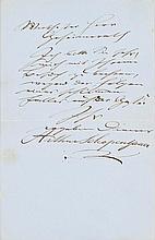 Schopenhauer, Arthur, Philosoph (1788-1860). Eigenh. Brief mit Unterschrift