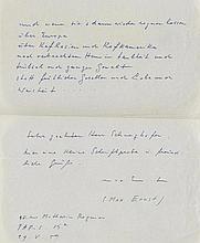 Ernst, Max, Maler (1891-1976). Eigenh. Albumblatt mit Unterschrift. Paris,