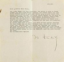Kandinsky, Wassili, Maler (1866-1944). Maschinenschr. Brief mit eigenh. Unt