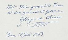 Chirico, Giorgio de, Maler (1888-1978). Albumblatt in deutscher Sprache mit