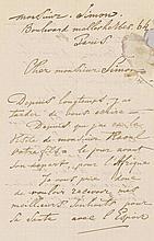 Jongkind, Johan-Barthold, niederländischer Maler (1819-1891). Eigenh. Brief