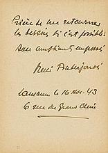 Auberjonois, René, Maler (1872-1957). Drei eigenh. Postkarten mit Unterschr