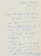 Chagall, Marc, Maler u. Graphiker (1887-1985). Brief mit eigenh. Unterschri