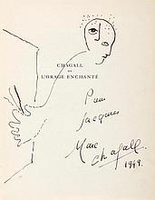 Chagall, Marc, Maler (1887-1985). Eigenh. Skizze mit Unterschrift auf Vorti