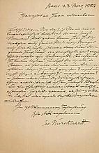 Burckhardt, Jacob, Kulturhistoriker (1818-1897). Eigenh. Brief mit Untersch