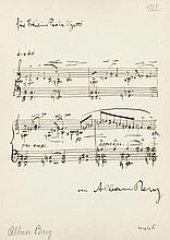 Berg, Alban, Komponist (1885-1935). Eigenh. Musikwidmung auf Rückseite eine