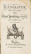 MILITARIA - Konvolut von sieben Ranglisten der Preussischen Armee. Nebst Be