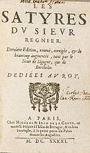 Régnier, Mathurin. Les Satyres. Derniere Edition, reveue, corrigée, & de be
