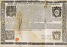 URKUNDEN - Zeugnis der Universität Padua. Gedruckte Urkunde mit Holzschnitt