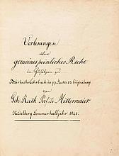 VORLESUNGSMITSCHRIFTEN - Vier rechtshistorische Vorlesungs-Nachschriften. D
