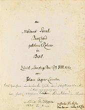 Lavater, Johann Caspar, Dichter und Physiognom (1741-1801). Das menschliche