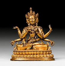 A HEAVY GILT BRONZE FIGURE OF USHNISHAVIJAYA.