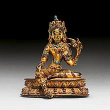 A GILT COPPER FIGURE OF THE GREEN TARA. Tibet,