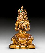 A GILT COPPER FIGURE OF MAITREYA WITH TURQUOISE