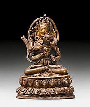 A BRONZE FIGURE OF VAJRASATTVA YAB-YUM. Tibet,