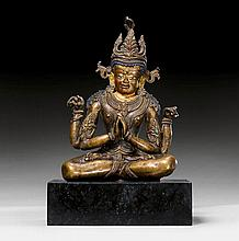 AN EARLY BRONZE FIGURE OF SHADAKSHARI. Tibet, ca.