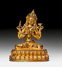 A FINE GILT BRONZE FIGURE OF MANJUSHRI WITH