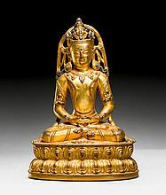 A FINE GILT COPPER FIGURE OF AMITHABA WITH RICH