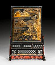 A BLACK LACQUERED SCREEN DECORATED WITH LANDSCAPES
