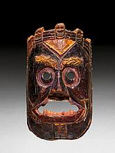 A PAINTED WOOD MASK OF A TUTELARY DEITY. Nepal,