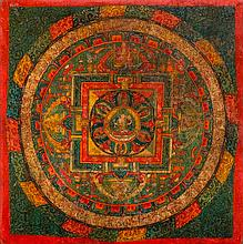 A MANDALA OF SHADAKSHARI PAINTED ON WOOD. Tibet,