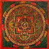 A MANDALA OF SHADAKSHARI PAINTED ON WOOD. Tibet,