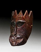 A WOODEN MASK OF HANUMAN, KING OF THE MONKEYS.