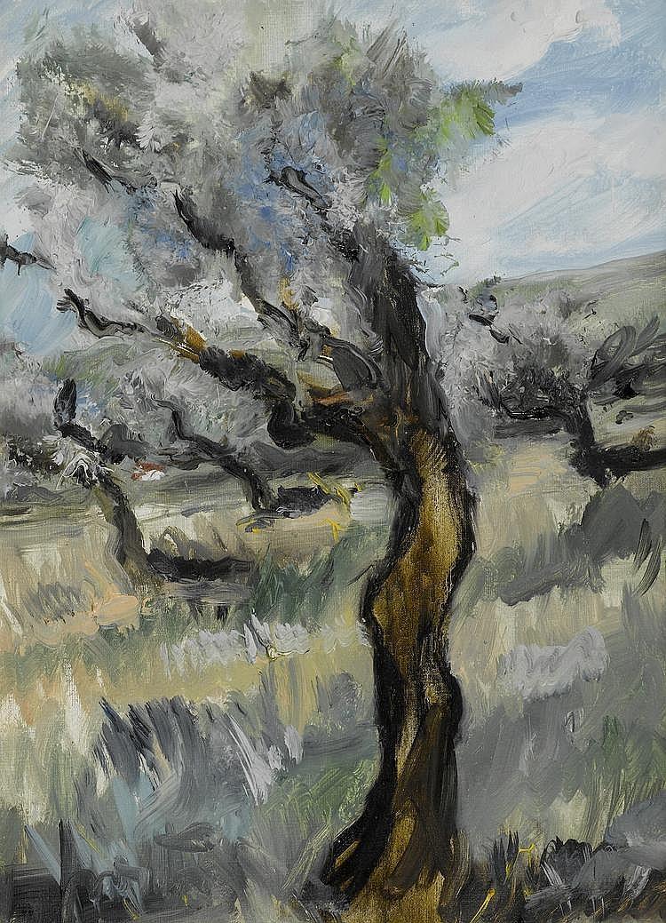 FAVRE DE THIERRENS, JACQUES (1895 - 1973) 'Syphonie Grise' (olivier) Huile sur toile.