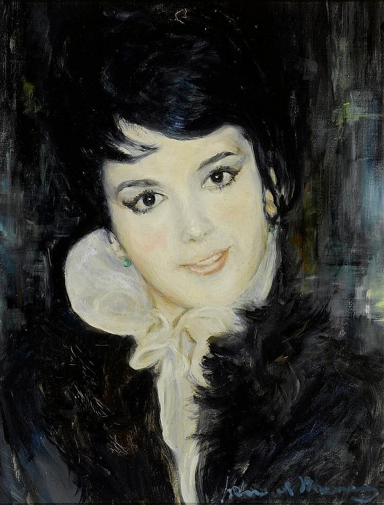 FAVRE DE THIERRENS, JACQUES (1895 - 1973) Portrait de jeune femme Huile sur toile.
