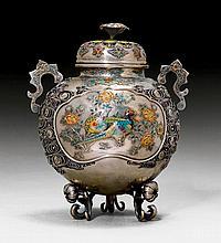AN ENAMELED SILVER KÔRO. Japan, Meiji period,