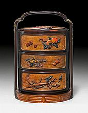 A CHARMING THREE TIERED SAGE JUBAKO WITH LACQUERED