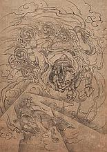AN ANONYMOUS INK DRAWING OF THE THUNDERGOD RAIJIN.