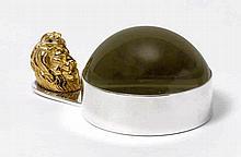 HERMES Paris. LOUPE/PRESSE-PAPIER en métal argenté et doré et verre g