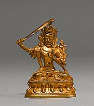 MINIATURE FIGURE OF MANJUSHRI.Sino-Tibetan,