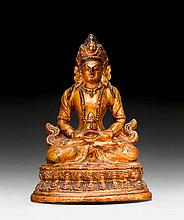 AMITAYUS.Tibet, 18th c. H 15.3 cm. Terracotta with