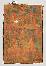 TANGKA WITH FOUR ARHATS.Tibet, 17th/18th c. 69x46