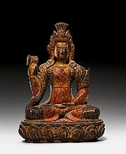 MALE DEITY.Nepal, 19th c. H 19.5 cm.Wood with