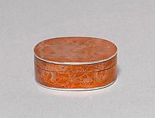 SMALL BOX.China, 19th c. L 7.2 cm.Oval copper box