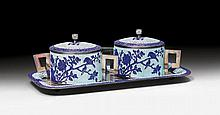 TWO SUGAR BOWLS WITH TRAY.China, Republic, Bowls H