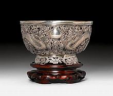 SILVER BOWL.China, ca. 1900, D 18.2 cm. 454