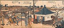 KATSUSHIKA HOKUSAI (1760-1849).21x46 cm. Three