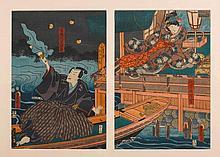 UTAGAWA KUNISADA (1786-1865).Ôban Diptychon. The