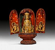FOLDING ALTAR.Korea, ca.17th c. H 37 cm.Wood with