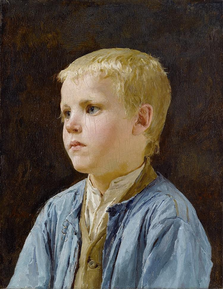ANKER, ALBERT(1831 Ins 1910)Portrait of a boy.Oil