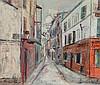 UTRILLO, MAURICE (Paris 1883 - 1955 Dax) Rue Saint-Rustique, Montmartre. Um 1948. Öl auf Holz, parkettiert. Unten rechts signiert: Maurice Utrillo V. Unten links bezeichnet: Montmartre. 41,5 x 50,5 cm. Die Authentizität dieses Werkes wurde von Jean, Maurice Utrillo, CHF80,000