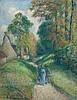 PISSARRO, CAMILLE (Charlotte Amalie 1830 - 1903 Paris) Paysage avec trois paysans. 1891. Gouache auf festem Papier, auf originalem Malkarton aufgelegt. Unten links signiert und datiert: C. Pissarro. 91. 31 x 24 cm. Die Authentizität dieses Werkes, Camille Pissarro, CHF130,000