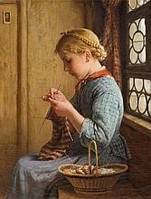 ANKER, ALBERT(1831 Ins 1910)Girl knitting by a