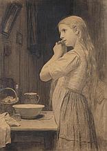 ANKER, ALBERT(1831 Ins 1910)Girl plaiting her