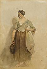 ITALIAN, 19TH CENTURY. Barefoot young woman with ceramic jug. Wat