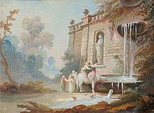 ITALIAN. Anonymous, circa 1800. Antique fountain with visitors, t